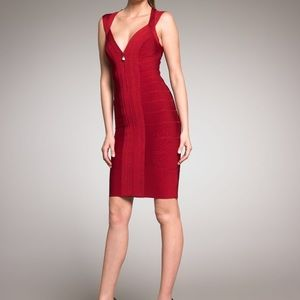 Herve Leger burgundy zip front bandage dress